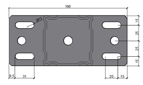 Slot dimensions of standard components