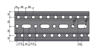 Steel Beam Section - Slot and Hole Pattern