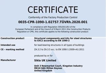 SUK EN1090 Certificate