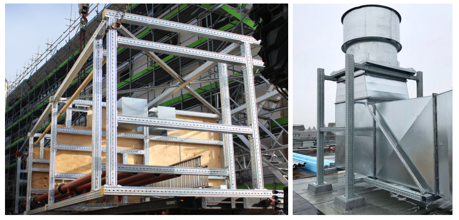 Above: siFramo offsite fabricated riser at St. Georges Hospital Christchurch and seismic cage at Canterbury University