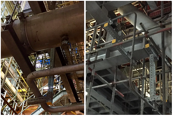Pipework requiring support structures in power stations