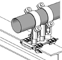 mounting on steel beam with pipe shoe assembly set