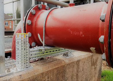 modular supports for above-ground ductile iron pipework